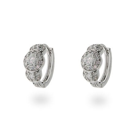 Vintage Style CZ Sterling Silver Huggies | Eve's Addiction®