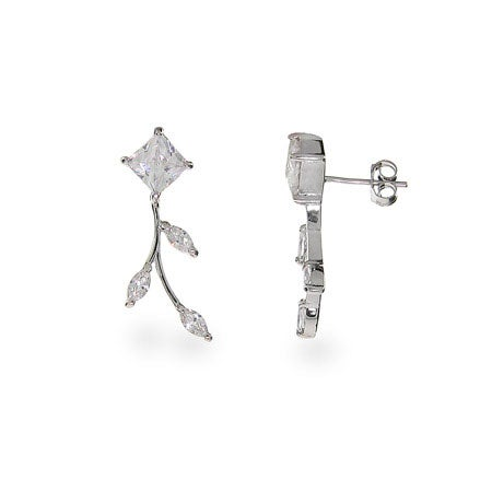 Sparkling Vine of Diamond CZ Leaf Earrings | Eve's Addiction®