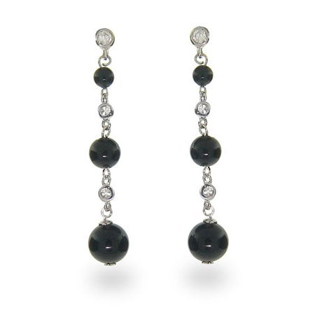 Designer Style Black Onyx Bead Silver Drop Earrings | Eve's Addiction®