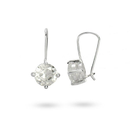 Sterling Silver & Diamond CZ Leverback Earrings | Eve's Addiction®