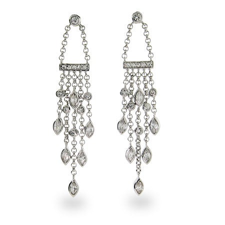 Cubic Zirconia Sterling Silver Sway Drop Earrings | Eve's Addiction®