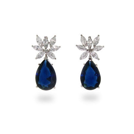 Fancy CZ Drop Sapphire Earrings | Eve's Addiction®