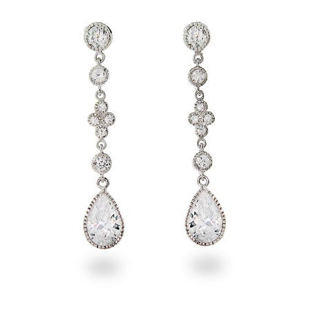 Diamond CZ Peardrop Dangles | Eve's Addiction®