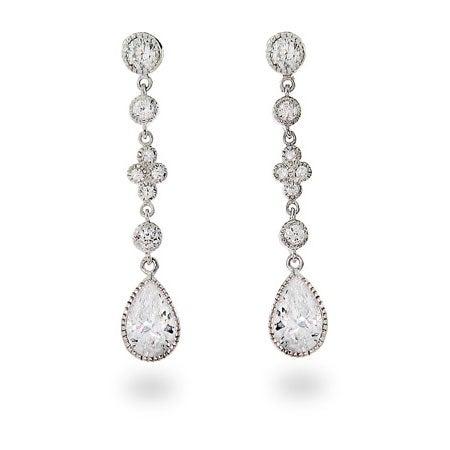 Diamond CZ Peardrop Dangles | Eve's Addiction®