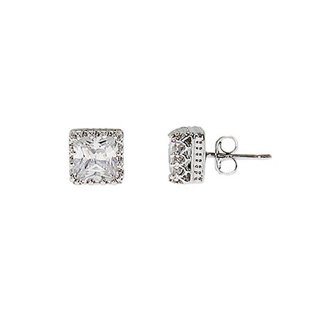 Crown Set Princess Cut CZ Studs | Eve's Addiction®
