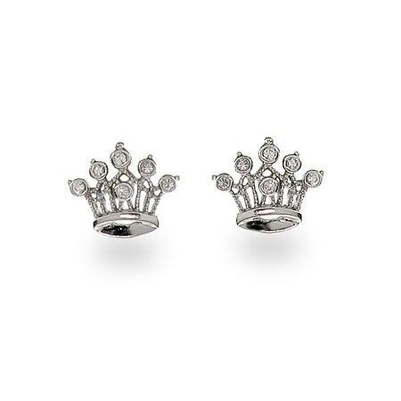 Sterling Silver Crown Jewels Cubic Zirconia Earrings | Eve's Addiction®
