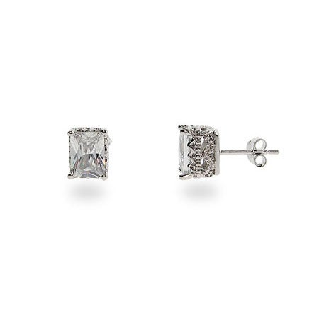 Crown Set Rectangle Sterling Silver CZ Studs | Eve's Addiction®