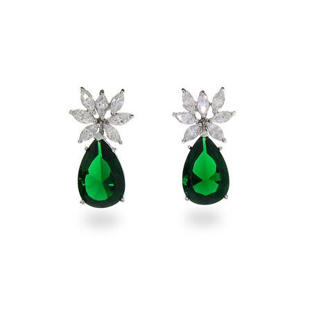 Emerald CZ Pear Drop Sterling Silver Earrings | Eve's Addiction®