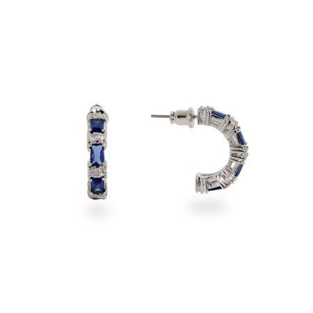 Elegant Sapphire & Clear Cubic Zirconia Hoop Earrings | Eve's Addiction®