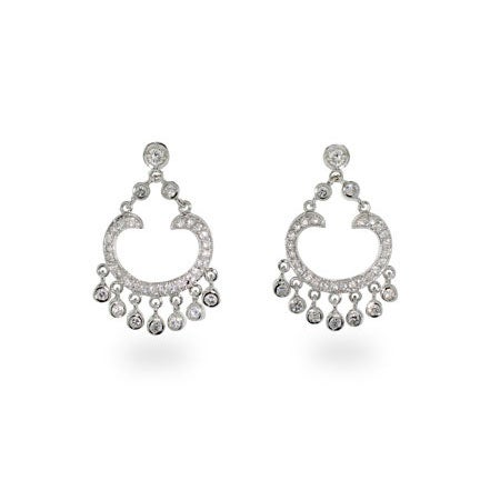 Diamond CZ Sterling Silver Chandelier Earrings | Eve's Addiction®