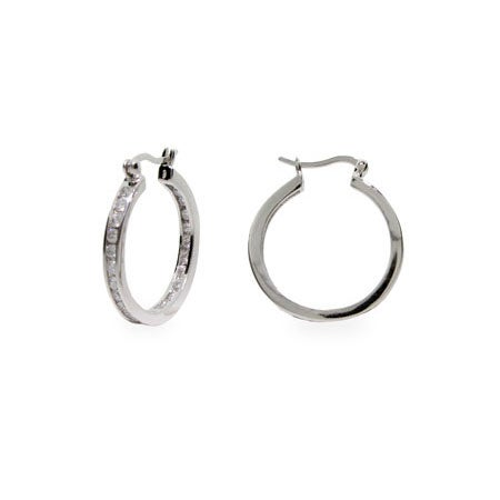 "Channel Set 1"" Inside Out CZ Hoops 
