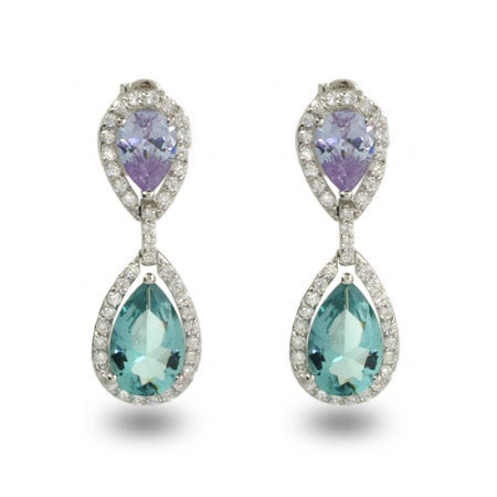 Lavender & Aqua Glamorous Teardrop Earrings | Eve's Addiction®