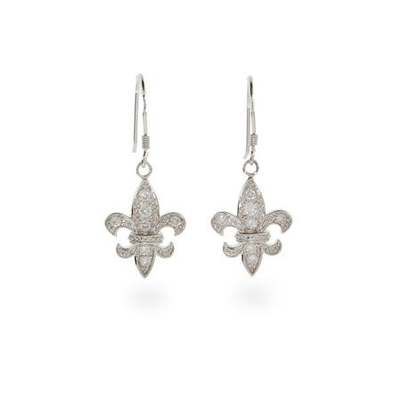 Dangle CZ Fleur De Lis Earrings | Eve's Addiction®