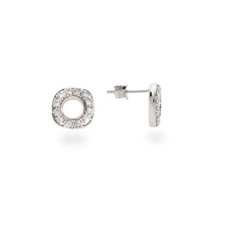 Designer Style Pave CZ Cushion Stud Earrings | Eve's Addiction®