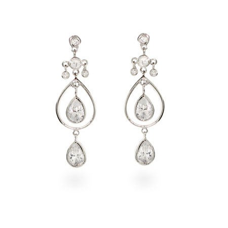 Double Teardrop CZ Dangle Silver Earrings | Eve's Addiction®