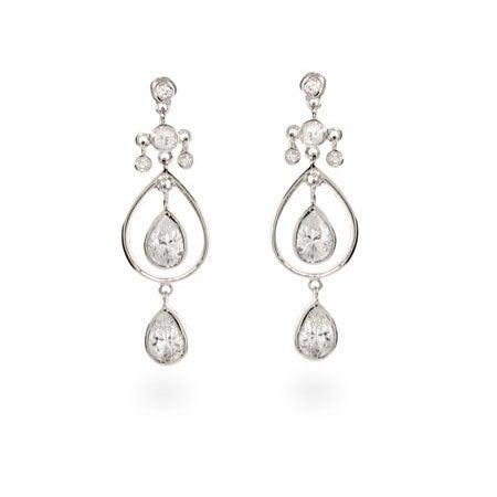 Double Teardrop CZ Dangle Silver Earrings | Eve's Addiction®