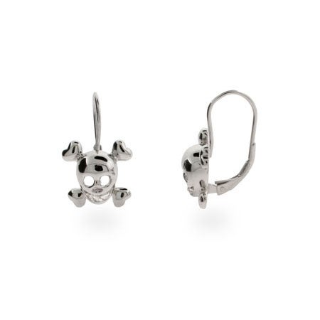 Sterling Silver Skull Leverback Earrings | Eve's Addiction®