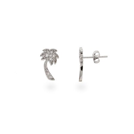Designer Style CZ Sterling Silver Palm Tree Stud Earrings | Eve's Addiction®
