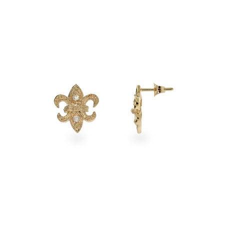 Fleur De Lis CZ Gold Vermeil Stud Earrings | Eve's Addiction®