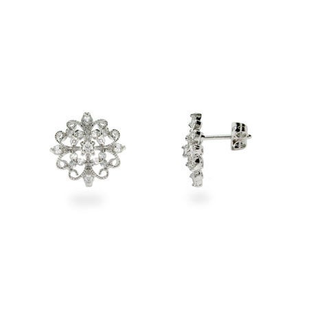 Intricate Victorian CZ Sterling Silver Stud Earrings | Eve's Addiction®