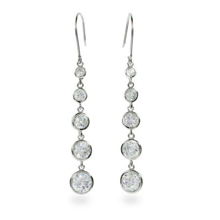 Dangling Bezel Set Sterling Silver Earrings | Eve's Addiction®