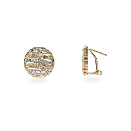 Designer Inspired Safari Gold CZ Round Earrings | Eve's Addiction®
