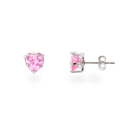 Pink Cubic Zirconia Heart Shaped Silver Stud Earrings | Eve's Addiction®