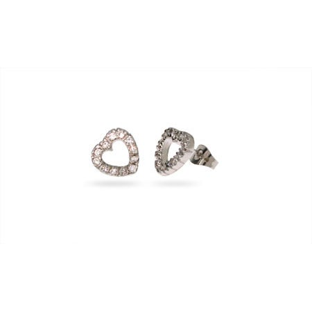 Sterling Silver CZ Stencil Heart Stud Earrings | Eve's Addiction®