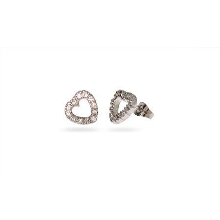 Sterling Silver CZ Stencil Heart Stud Earrings | Eve's Addiction®