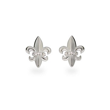 Sterling Silver Fleur de Lis Earrings with CZ Accents | Eve's Addiction®