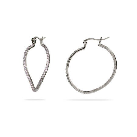 "1"" Inside Out Wavy CZ Sterling Silver Hoops 