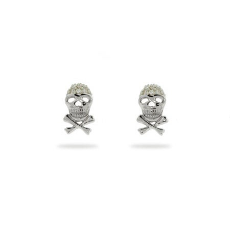 CZ Skull & Crossbones Stud Earrings | Eve's Addiction®