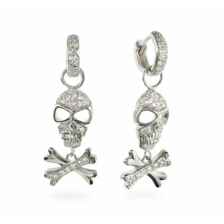 CZ Huggy Skull & Crossbones Sterling Silver Earrings | Eve's Addiction®