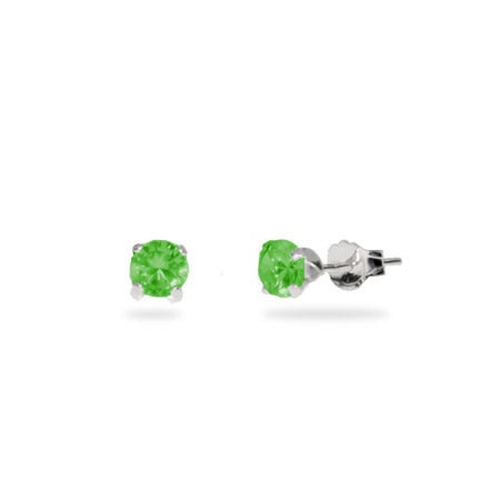 Sterling Silver 4 mm Emerald Cubic Zirconia Stud Earrings | Eve's Addiction®