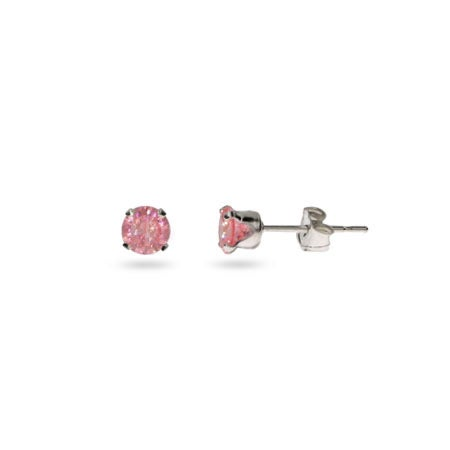 Silver 4 mm Pink CZ Stud Earrings