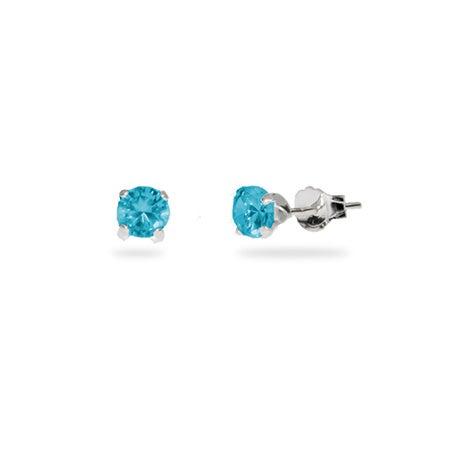 Sterling Silver 4 mm Blue Zircon CZ Stud Earrings | Eve's Addiction®