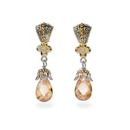 Designer Style Vintage Champagne CZ Peardrop Earrings | Eve's Addiction®