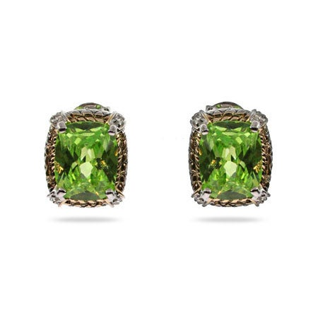 Designer Inspired Brilliant Cushion Cut Peridot CZ Earrings | Eve's Addiction®