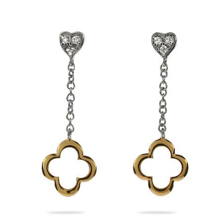 Gold and Silver Heart Drop Clover Earrings | Eve's Addiction®