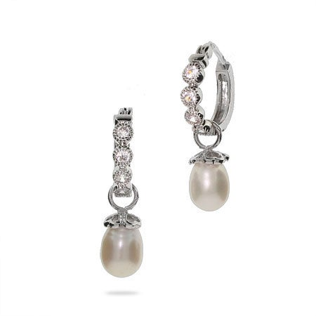 Designer Style CZ Huggie Hoop Earrings with Pearl Drop | Eve's Addiction®
