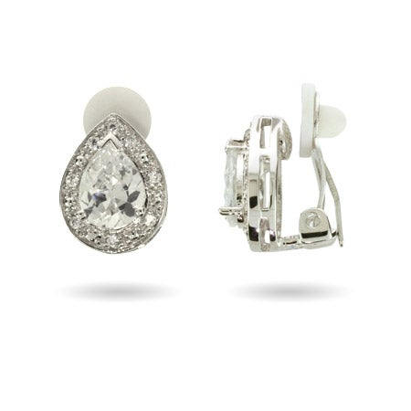 CZ Pear Cut CZ Clip Earrings | Eve's Addiction®