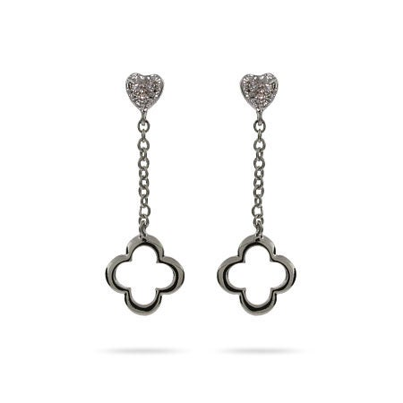 Sterling Silver 4 Petal & Hearts Dangle Earrings | Eve's Addiction
