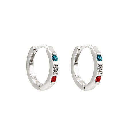 3 Stone Personalized Swarovski Crystal Birthstone Huggie Earrings | Eve's Addiction®