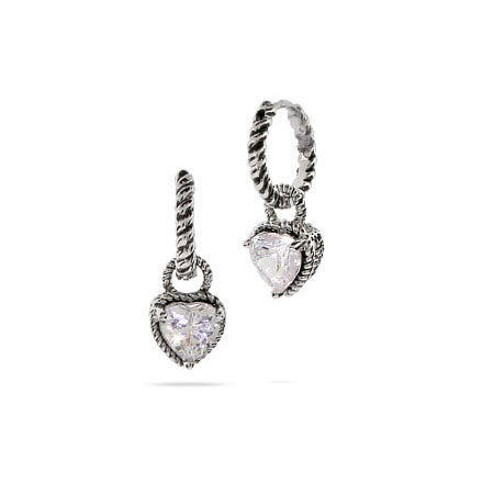 Designer Inspired Petite Cable Huggies with CZ Heart Drop | Eve's Addiction®