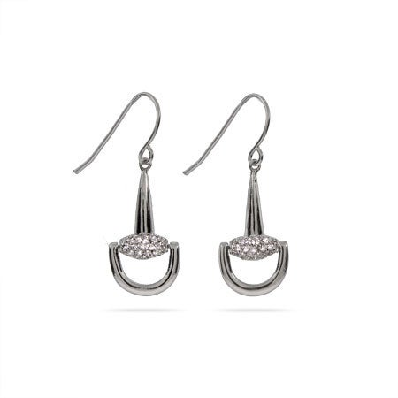 Pave CZ Equestrian Horsebit Drop Earrings