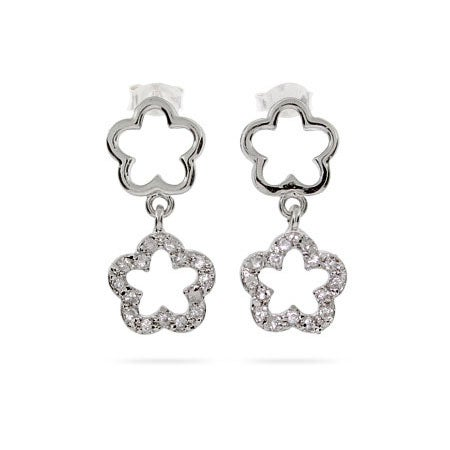 Designer Style Double Clover Drop CZ Earrings | Eve's Addiction®