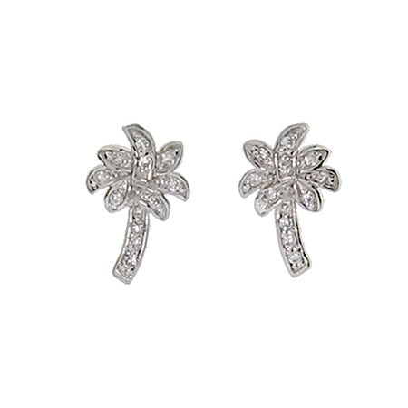 Designer Style CZ Palm Tree Stud Earrings | Eve's Addiction®