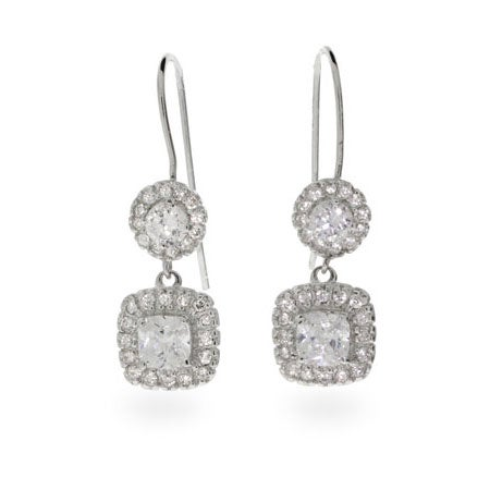 Cushion Cut CZ Dangle Earrings | Eve's Addiction