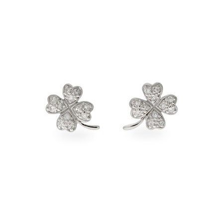 Good Luck Sterling Silver Pave CZ Shamrock Earrings | Eve's Addiction®