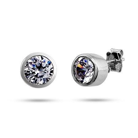 Bezel Set Mens CZ Stud Earrings | Eve's Addiction®